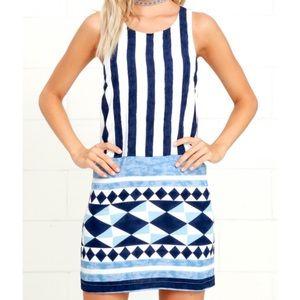Lulus Multitask Queen Ivory & Blue Shift Dress XS